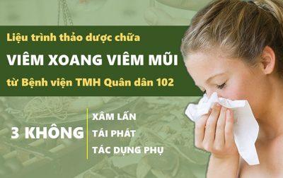 Liệu trình điều trị viêm xoang viêm mũi Quân dân 102