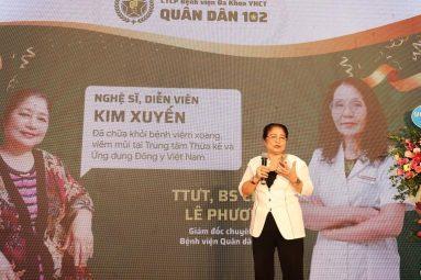Nghệ sĩ Kim Xuyến chia sẻ từng mắc viêm xoang trong buổi lễ khai trương Bệnh viện Quân Dân