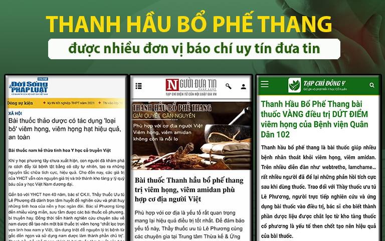 Nhiều tờ báo đưa tin về bài thuốc Thanh hầu bổ phế thang