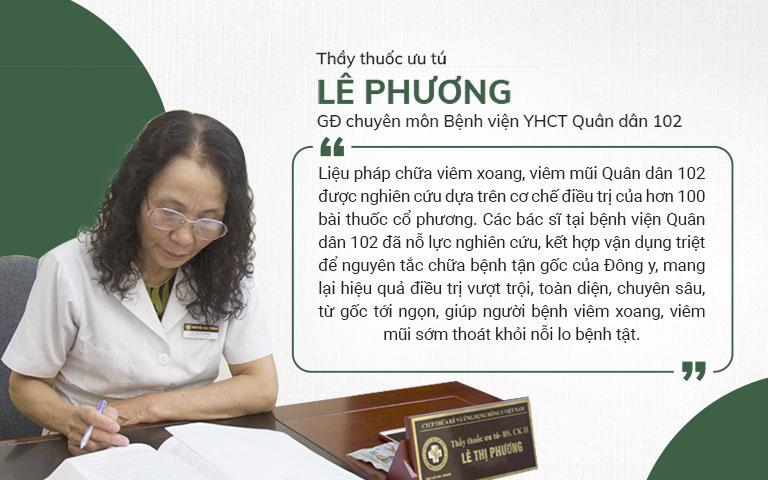 Chia sẻ của bác sĩ Lê Phương về phương pháp chữa viêm xoang, viêm mũi Quân dân 102