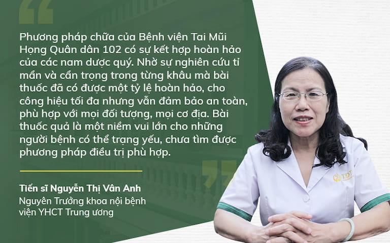 Liệu trình trị viêm xoang tại Bệnh viện Tai Mũi Họng Quân dân 102 được nhiều chuyên gia đánh giá cao