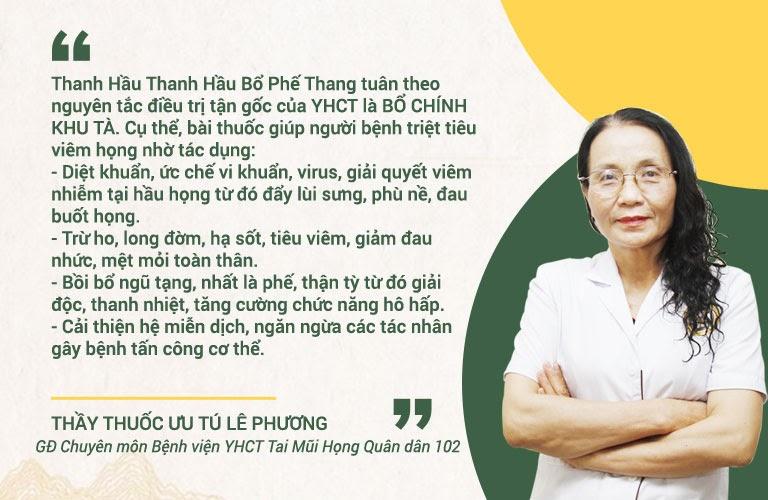 Bác sĩ Lê Phương chia sẻ về Thanh hầu bổ phế thang