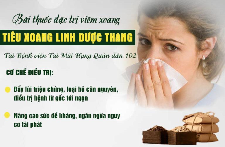 Cơ chế điều trị của Tiêu xoang linh dược thang bệnh viện Tai Mũi Họng Quân dân 102