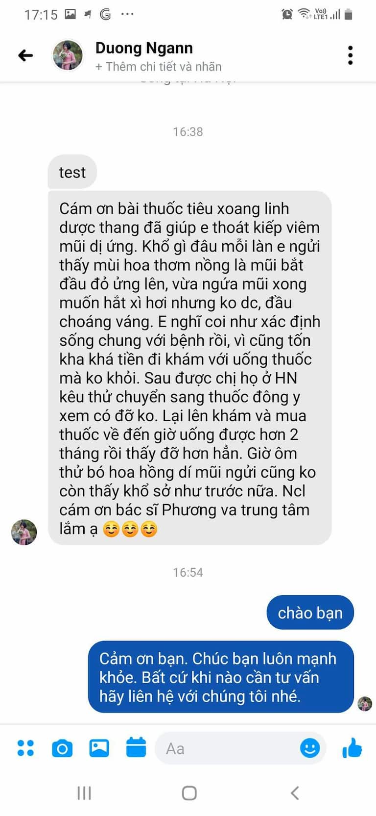Bệnh nhân Dương Huyền Ngân chữa khỏi viêm mũi dị ứng nhờ bài thuốc Tiêu Xooang linh dược thang