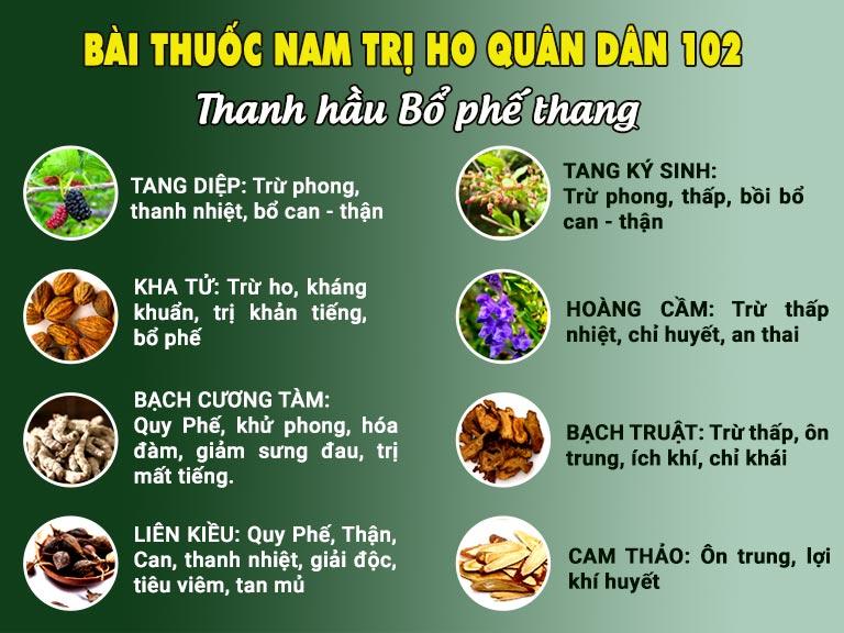 Thành phần bài thuốc Thanh Hầu Bổ Phế Thang chữa ho tại Bệnh viện Tai Mũi Họng Quân Dân 102