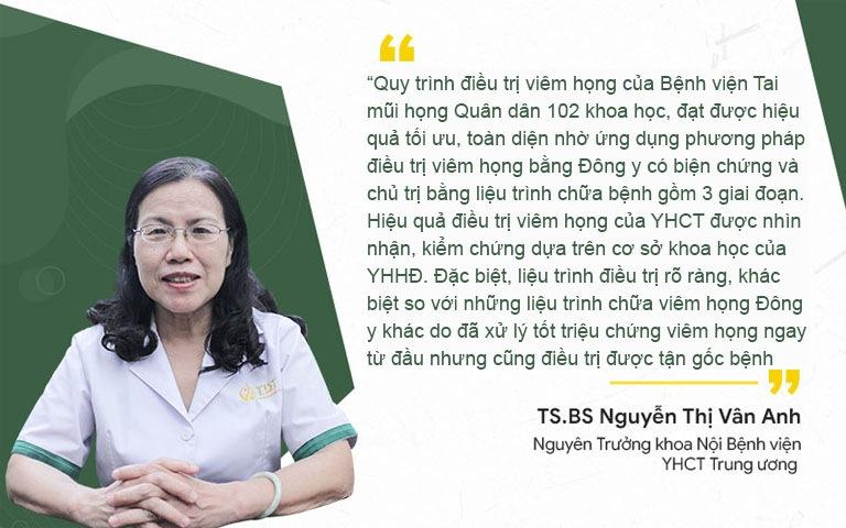 TS.BS Nguyễn Thị Vân Anh nhận xét về Quy trình điều trị viêm họng tại Bệnh viện Tai Mũi Họng Quân Dân 102