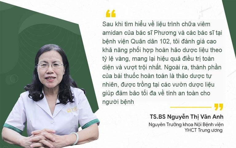 Tiến si, bác sĩ Nguyễn Thị Vân Anh - Nguyên Trưởng Khoa Nội bệnh viện YHCT Trung ương