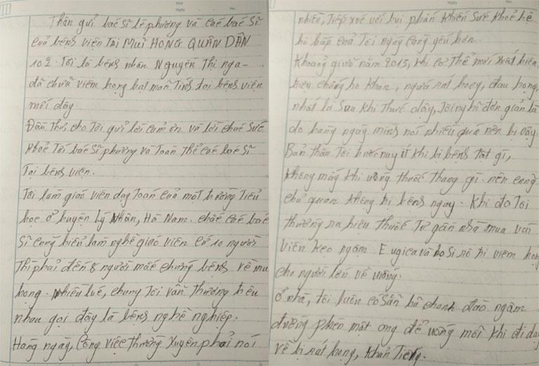 Lá thư chia sẻ của bệnh nhân Nguyễn Thị Nga diều trị viêm họng hạt mãn tính tại Bệnh viện Tai mũi họng Quân dân 102