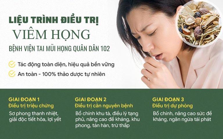 Liệu trình điều trị viêm họng tại Tai Mũi Họng Quân dân 102 gồm 3 giai đoạn