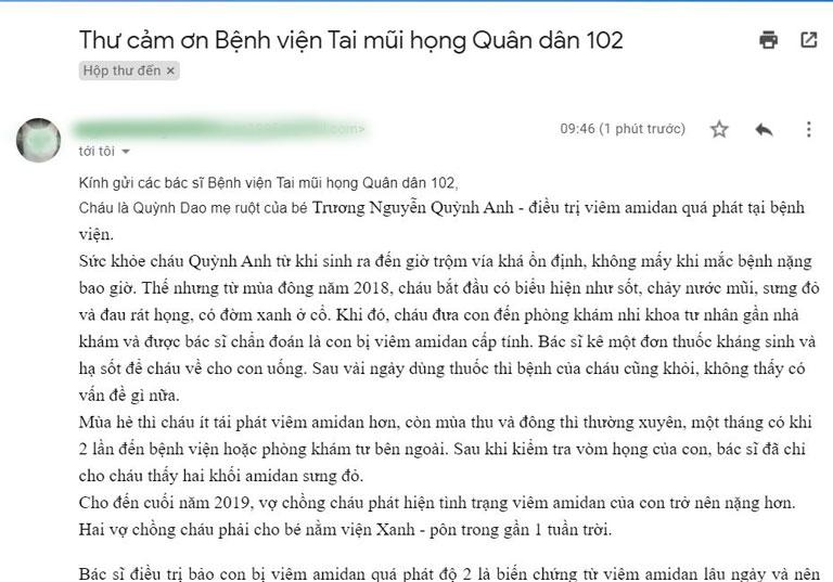 Thư chia sẻ của chị Quỳnh Dao - mẹ của bệnh nhi Trường Nguyễn Quỳnh Anh điều trị viêm amidan quá phát tại Bệnh viện