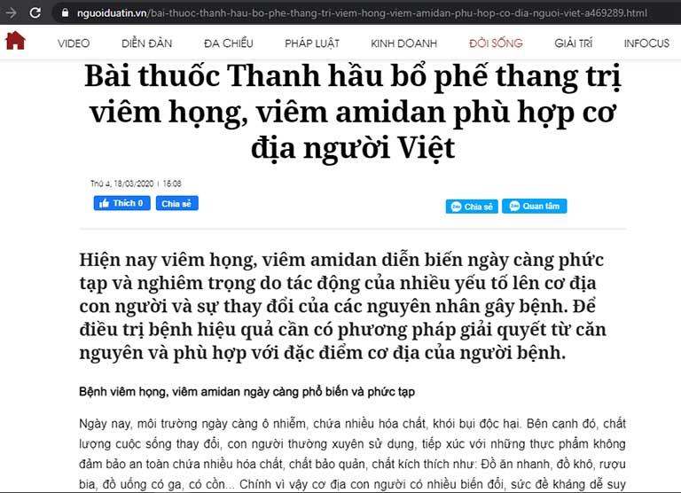 Nhiều bài báo đưa tin về bác sĩ Lê Phương và bài thuốc chữa viêm amidan Thanh hầu bổ phế thang