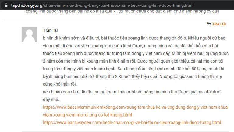 Phản hồi của độc giả Trần Tú trên chuyên trang Tạp chí Đông y