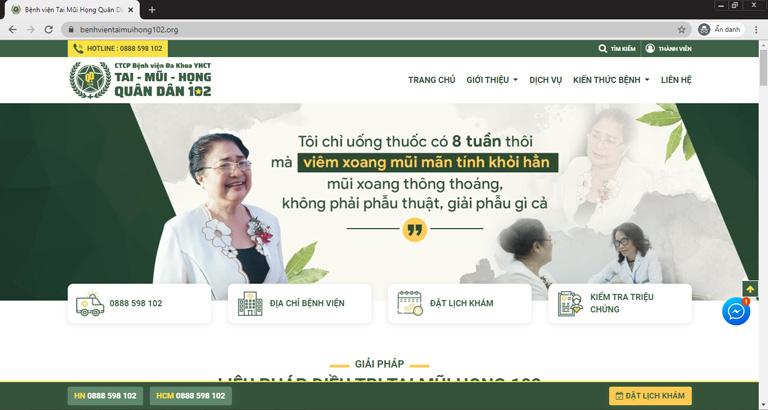 Trang chủ của Bệnh viện Tai Mũi Họng Quân dân 102