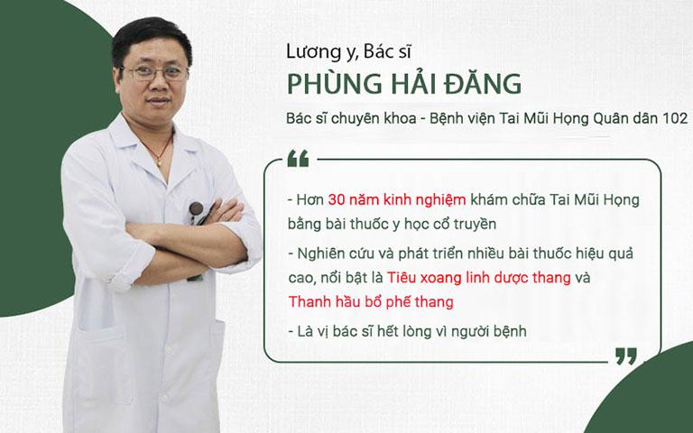 Thông tin về Lương y, bác sĩ Phùng Hải Đăng Quân dân 102