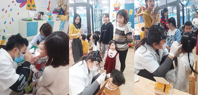 Bệnh viện Tai Mũi Họng Quân dân 102 tổ chức thăm khám miễn phí cho trẻ