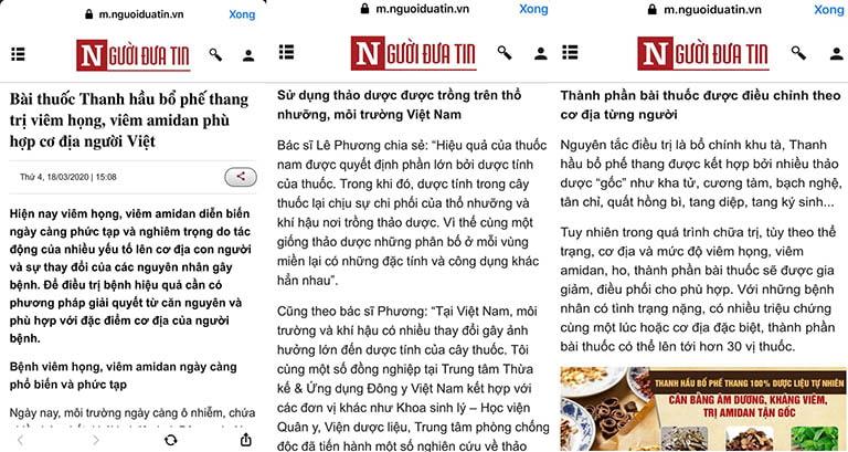 Báo Người Đưa Tin chia sẻ về Thanh hầu bổ phế thang